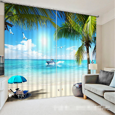 3D Sea Boat 103 Blockout Photo Curtain Printing Curtains Drapes Fabric Window CA
