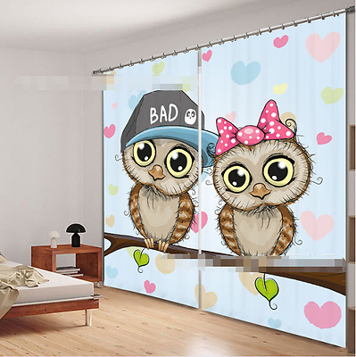 3D Lovely Birds Blockout Photo Curtain Printing Curtains Drapes Fabric Window CA