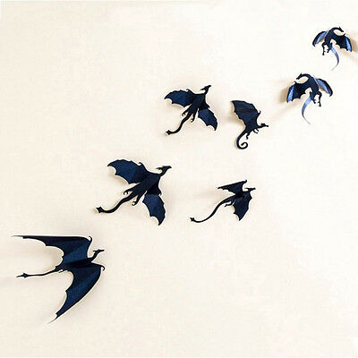 7pcs/Lot Gothic Dragons Wall Sticker Game of Thrones Inspired 3D Dragon Decor