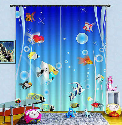 3D Cute Fishes Blockout Photo Curtain Printing Curtains Drapes Fabric Window CA