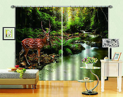 3D Forest Deer 2 Blockout Photo Curtain Printing Curtain Drapes Fabric Window CA