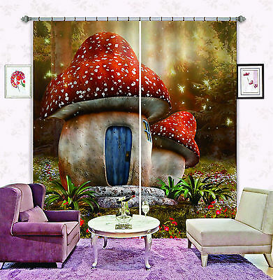 3D Cute Houses Blockout Photo Curtain Printing Curtains Drapes Fabric Window CA