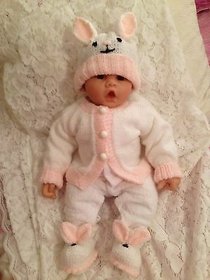 Hand Knitted Baby  Set Rabbit 3 Pieces Birth To 3 Months  Nice Gift