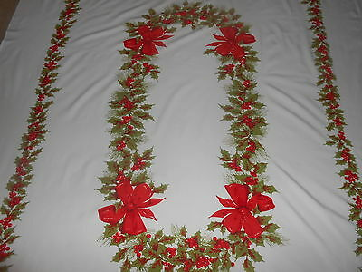 VINTAGE~LINEN CHRISTMAS BANQUET TABLECLOTH~HOLLY BERRIES & BIG RED BOWS~60x80