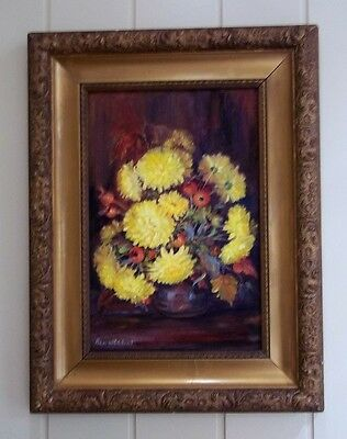 Floral Oil Painting , by Listed Artist , Bess Whitehurst , 1916 - 2008 .