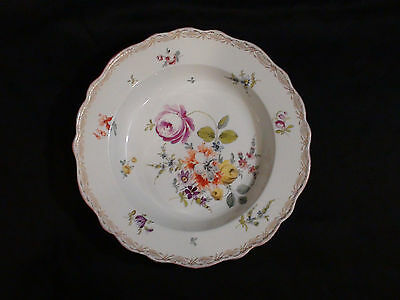 Late 19th Century Meissen Soup Plate With Dresden Type Flowers & Gold Gilding