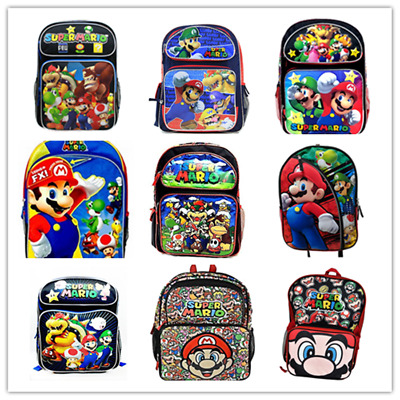 "16"" Large Nintendo Super Mario Bros School Backpack Book Bag All Print Authentic"
