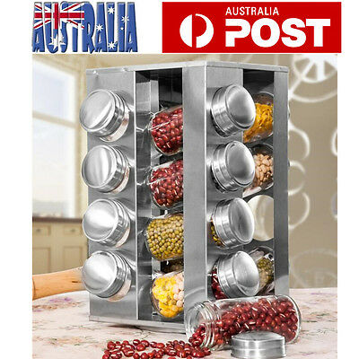 Rotating Spice Rack 16 Glass Jars Kitchen Seasoning Rack Stainless Steel Stand