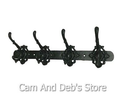 Cast Iron Vintage Style Wall 4 Hook Coat Garden Hanger Rack Factory Second