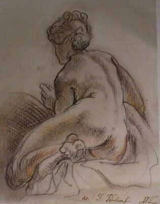 Old Master Drawing Nude female figure on laid paper Signed