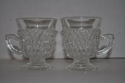 2 VINTAGE Pressed Glass Coffee Mugs Tea Cups Clear Diamond handled footed MINT