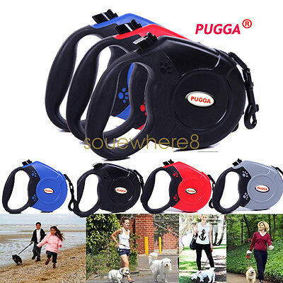 PUGGA 5M Extendable Dog Pet Retractable Training Leashes Lead Collar Harness UK