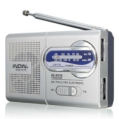 BC-R119 Portable Mini Radio AM / FM Receiver monde Poche Haut parleur 3,5 mm
