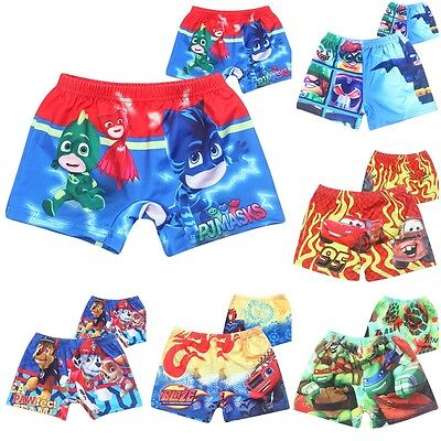 Boys Kids Swimming Trunks Shorts Swimwear Beach Cars Spider-Man PJ Masks Batman