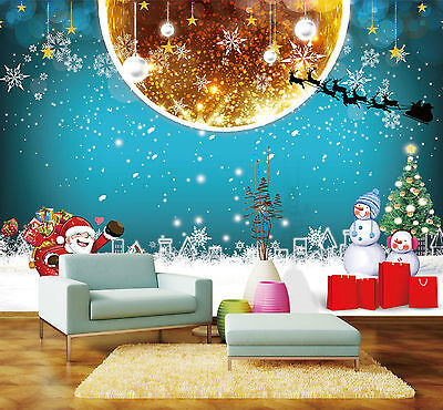 3D CHRISTMAS LOVELY moon Wall Paper Print Decal Wall Indoor wall