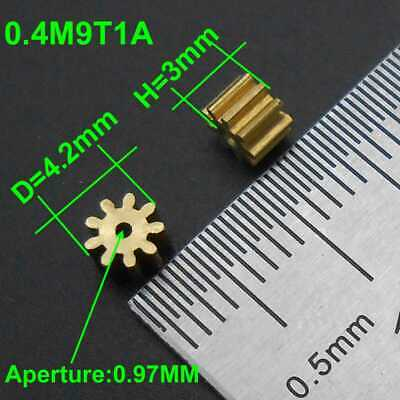 91A Brass Gear 0.4 Modulus T=9 Aperture 0.97 mm 9 Teeth Model 9T Metal 1MM 0.4M