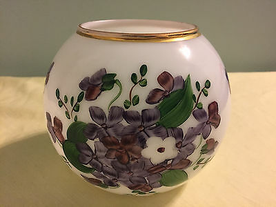Vtg CONSOLIDATED Phoenix Regent White Milk Glass Hand Painted Violets Vase1960s