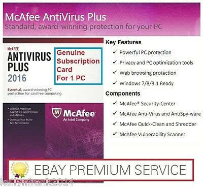 McAfee Antivirus Plus (2018) 1 Year Activation Code Windows 7/8/10 (CLEARANCE)