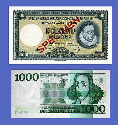 NETHERLANDS - Lots of 2 notes - 1000 Gulden - Reproductions