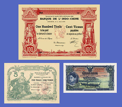 THAILAND - Lots of 3 notes - 1...100 Ticals - Reproductions