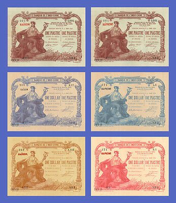 VIETNAM INDOCHINE - Lots of 6 notes - 1Piastre...1 Dollar - Reproductions