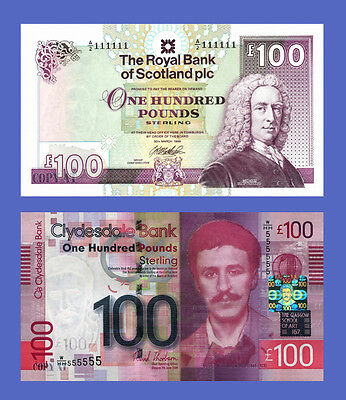 SCOTLAND - Lots of 2 notes - 100 Pounds - Reproductions