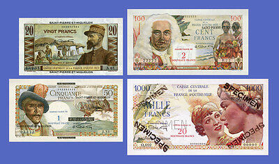 SAINT PIERRE - Lots of 4 notes - 20...1000 Francs - Reproductions