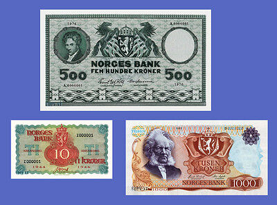 NORWAY - Lots of 3 notes - 10...1000 Norges - Reproductions