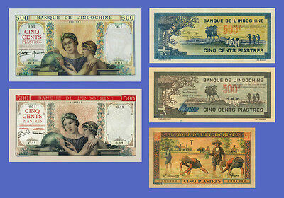 VIETNAM INDOCHINE - Lots of 5 notes - 5...500 Piastres - Reproductions