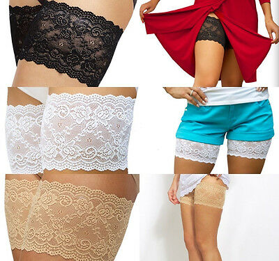 Womens Anti-Chafing Lace Thigh Bands Elastic Non Slip Socks Prevent Leg Warmers