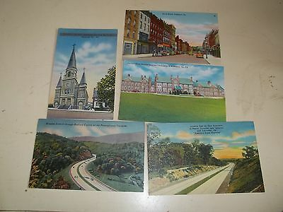 Five (5) Vintage Linen Hand Painted Pennsylvania Collectible Post Cards