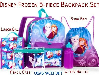 5pc Disney Princess FROZEN BACKPACK+Lunch+Sling Bag+Pencil Case SET School Book