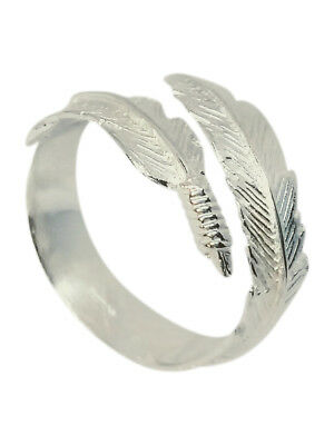 Boho Style Angel Wing Feather Adjustable Ring 925 Sterling Silver