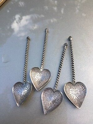 Set Of 4 Antique Hand Crafted Tableware Heart Shaped Spoons With Twisted Handles