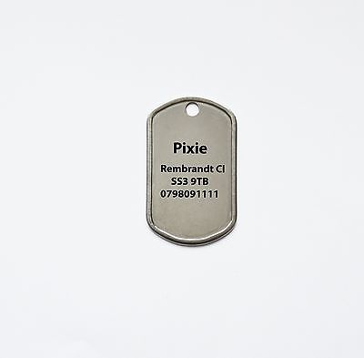 Dog-Cat Tags,Stainless Steel Military Style Pet Tag 38mm x 23mm - Free Engraving