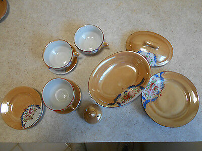 Vintage HP Lusterware Japan Child's Toy Dishes & serving dishes/gravy 14 pieces