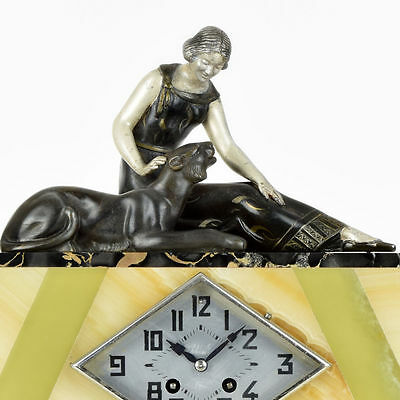 Rare French Art Deco Lady & Panther spelter sculpture onyx mantel clock 1920