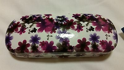 NEW Floral Glasses Hard Spectacle Case Flowers Pink Purple