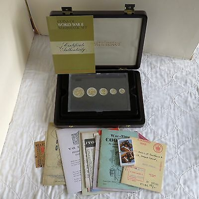 Silver Coins Of Ww2  5 Coin Set Layered In Silver & Accented In 22K Gold
