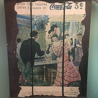 Original Coca Cola Sign 1905/1906 *After The Theater Drink A Glass Of Coca Cola*