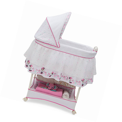 Portable Baby Bassinet Pink Playpen Bed Crib Sleeping Mattress Minnie Mouse New