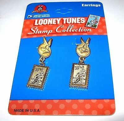 1997 BUGS BUNNY EARRINGS New Old Stock Postage Stamp Collection Looney Tunes MOC