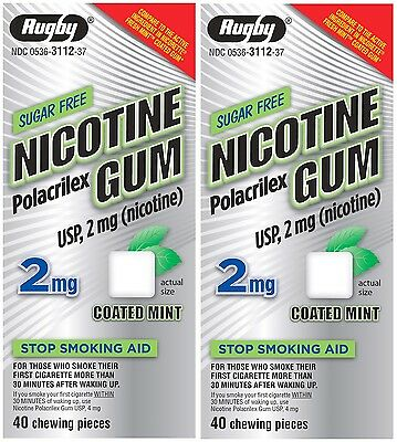 Rugby Nicotine Gum 2 mg Sugar Free Coated Mint Flavor 80 Count