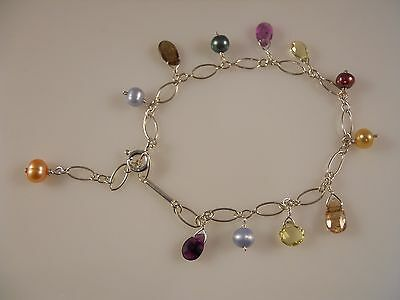 Sterling Silver, Multi-Color dying Freshwater Pearl And Gems Station Bracelet