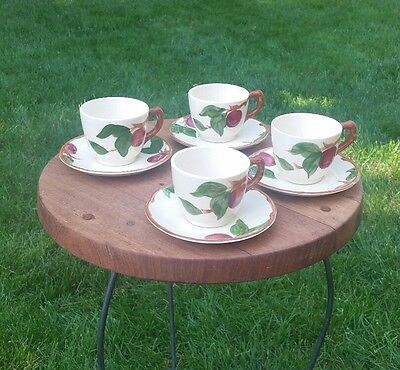 Lot of 8 Vintage Antique Franciscan APPLE Demi Tea Coffee Cup & Saucers
