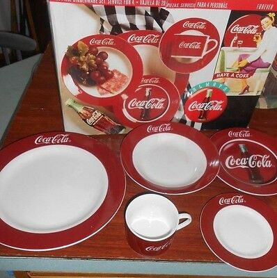 1996 Gibson Coca Cola Coke Dinner Plate Setting 20 Piece MIB