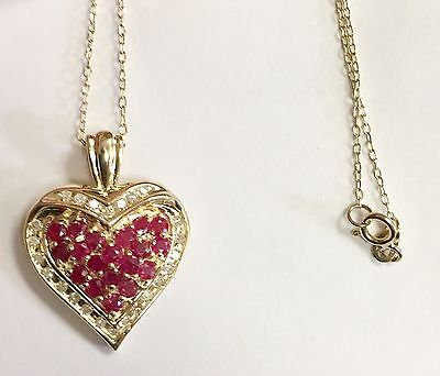 """Estate Natural Ruby And Diamond Heart Pendant 14k Yellow Gold 18"""" Chain"""