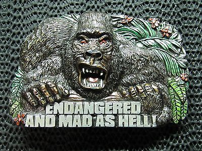 Endangered And Mad As Hell Gorilla Belt Buckle! Vintage! Very Rare! Bergamot!