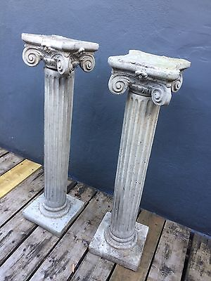 Pair of Ionic Greek Roman Columns Pedestal Reproduction Pillars for home garden