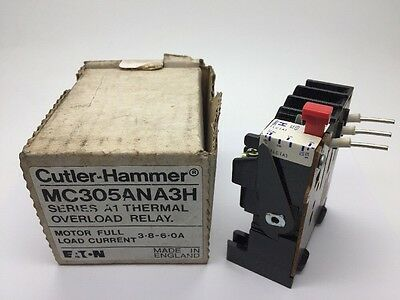 New Cutler-Hammer MC305ANA3H Contactor Overload Relay Series A1 3.8-6Amp